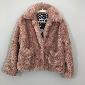 NWT Fate Pink Mauve Fuzzy Teddy Bear Jacket